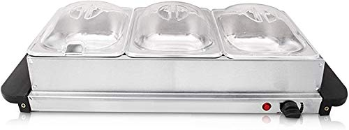BUFFET WARMER FOOD SERVER 300W STAINLESS STEEL 3 x 2.5L PAN LARGE HOT PLATE TRAY