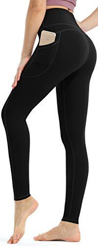 Persit Damen Sport Leggings, High Waist Yogahose Lang Sporthose Sportleggins Tights Schwarz L