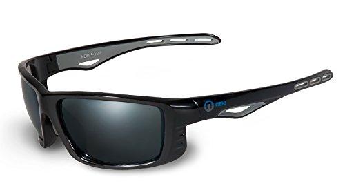 Nexi Sonnenbrille für Damen und Herren - Ideal Als Sportbrille - Mit Polarisation Schwarz - Inklusive Etui Und Mikrofasertuch - S-3D-P