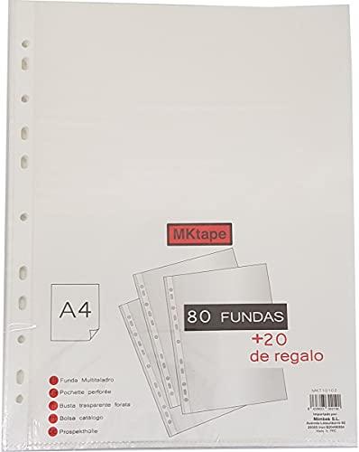 Mktape - Fundas Plastico A4 Transparente, Fundas Multitaladro 80 + 20 Tamaño Folio.