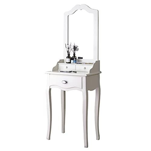 zxb-shop Mesa de Maquillaje Tocador con 3 cajones y Espejo, cómoda Moderna para baño de Dormitorio, Mesa de tocador Elegante para niñas, Blanco Tocadores de Dormitorio (Size : 60cm)