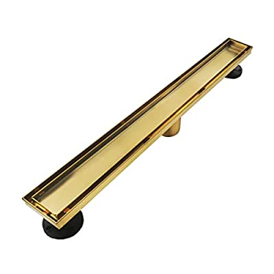Neodrain Gold 36-Inch Linear Shower Drain,With 2-in-1 Flat & Tile insert Golden Cover, 304 Stainless Steel Rectangle Shower Floor Drain, Floor Shower Drain With Adjustable Leveling Feet, Hair Strainer