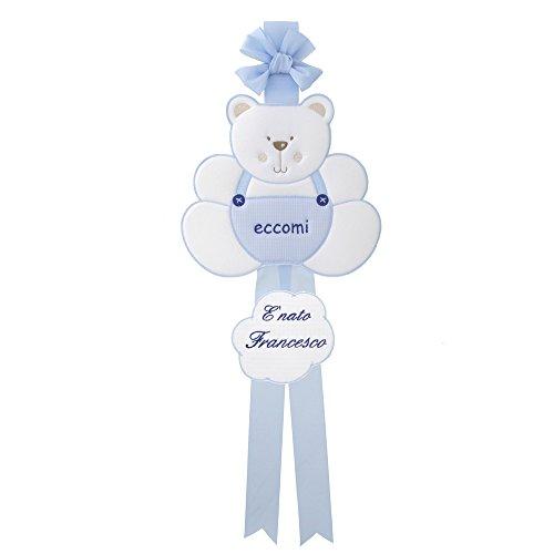 Coccole- Fiocco nascita Coccarda per nascita orso con nome personalizzato (Azzurro)
