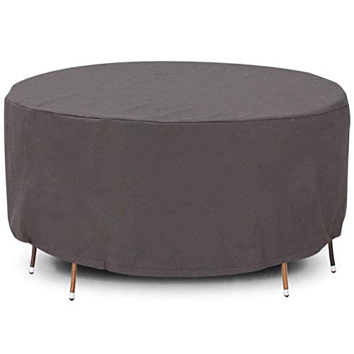 STZYY Round Garden Furniture Covers, Anti-Yellow Dust Crumbs - Patio Large Table and Chair Covers Outdoor Waterproof Windproof Anti-UV, Adjustable Drawstring with Hem,Gray,265x130cm