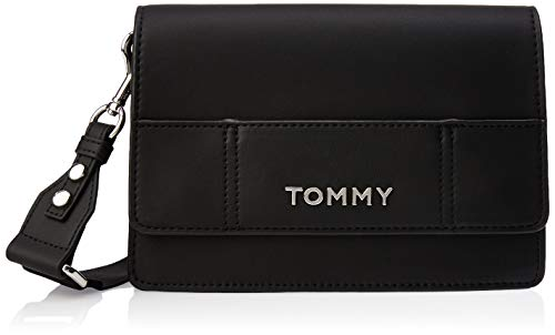 Tommy Hilfiger Damen Item Statement Crossover Umhängetasche, Schwarz (Black Mix), 14.5x22x7cm