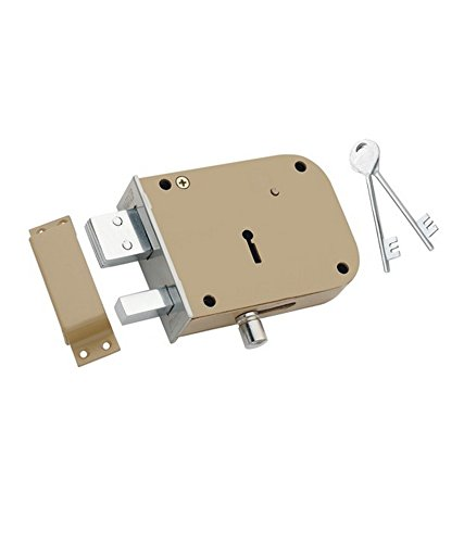HOMEPRODUCTS4U Padmini Iron Door Locks 2 in1 with 2 Keys (Silver)