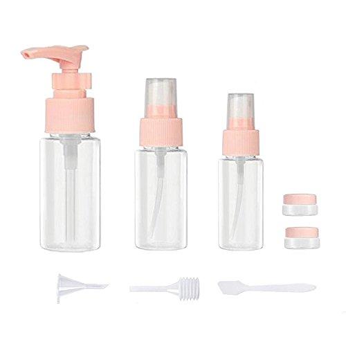 Bouteilles à Vide de Voyage Set en Plastique Transparent sac de Toilette Anti-fuite Kit avec EVA Sac pour Liquides de Maquillage avec Crème Shampooing Revitalisant Savon Sunblock Lotion Rose-9Pcs