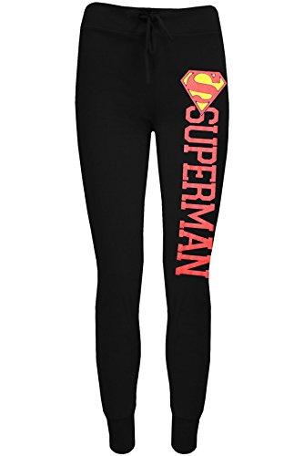 Damen Comic Superman Batman-Logo Trainingshose Jogging Hose Hose Übergröße - Superman Schwarz, 36/38