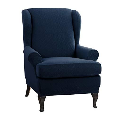 CHUN YI Rhombus-Jacquard Ohrensessel Schonbezug 2-Stück Elastische Sofaüberwurf Schutzhülle aus elastischem Sessel Husse für Ohrensessel (Ohrensessel, Blau)
