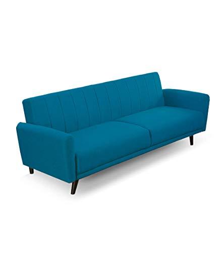 Home Heavenly- Sofá Cama Axel, sofá Tres plazas Clic clac tapizado en Tela Antimanchas con Patas Negras 212 cm X 80 cm X 85 cm. (Azul)