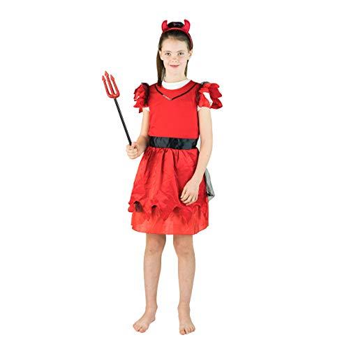 Bodysocks® Roter Teufel Kostüm für Mädchen (7-10 Jahre)