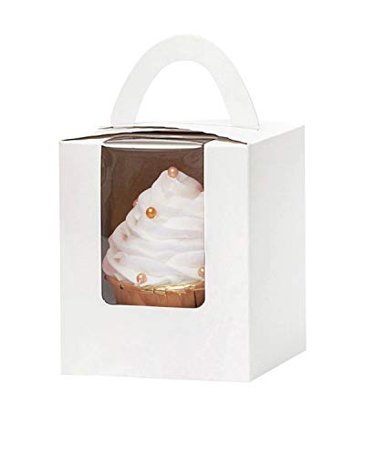 YoTruth White Auto Pop Cupcake Boxes Bulk Single 50 Count with Clear Window Inserts Handle for Wedding Cupcake Favor Boxes Easy Assembly (Classic Series)…