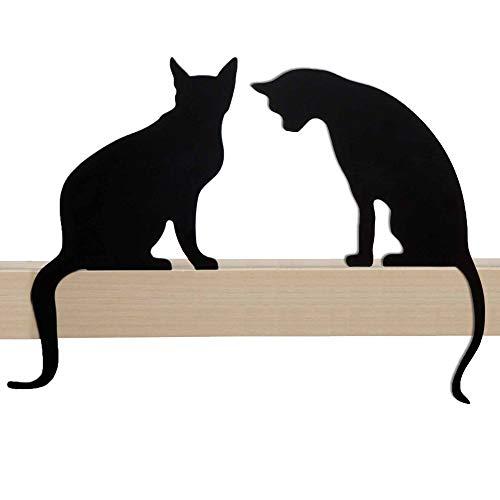 Estatuilla de gato para decoración del hogar - Silueta decorativa de gato de metal - Figuras de gatos divertidos para amantes de los gatos Decoración de la casa - Duo Meow Princess & Diva