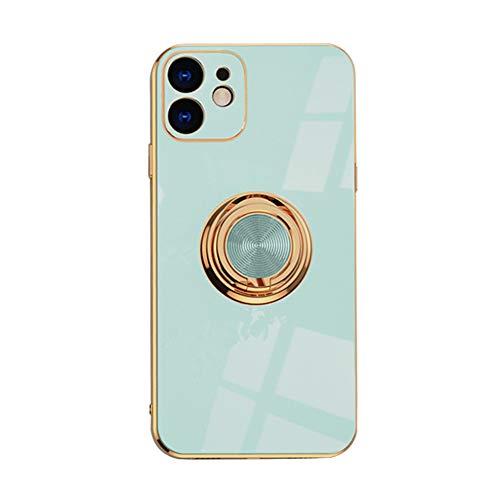 Funda de teléfono móvil compatible con Apple iPhone XR, funda de silicona TPU ultra fina con anillo de 360 grados, carcasa protectora antigolpes, soporte magnético para coche, color verde