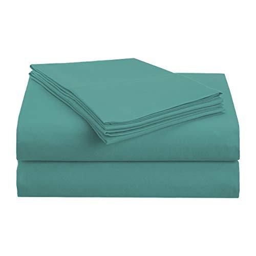 Superior 1500Serie 100% Microfibra cepillada 3Piezas Doble Cama Juego de sábanas sólido, Verde Azulado, Matrimonio