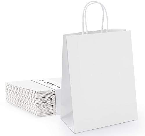 Anstore 40 Stück Papiertüten mit Henkel 16*8*21 cm,Geschenktüte, Partytüten mit Griff, Weiße Kraftpapiertüte für Partybevorzugung, Verpackung, Anpassung, Tragen, Einzelhandel, Waren, Hochzeit