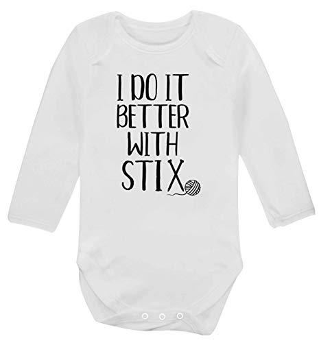 Flox Creative Gilet à Manches Longues pour bébé avec Tricot Stix - Blanc - XL