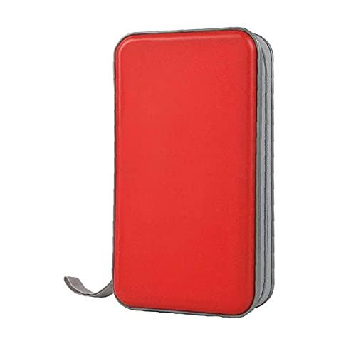 Cassa CD, portafoglio del cd portafoglio DVD Binder DVD Organizer Borsa di archiviazione Hard Plastic 80 Capacità Portable Rosso