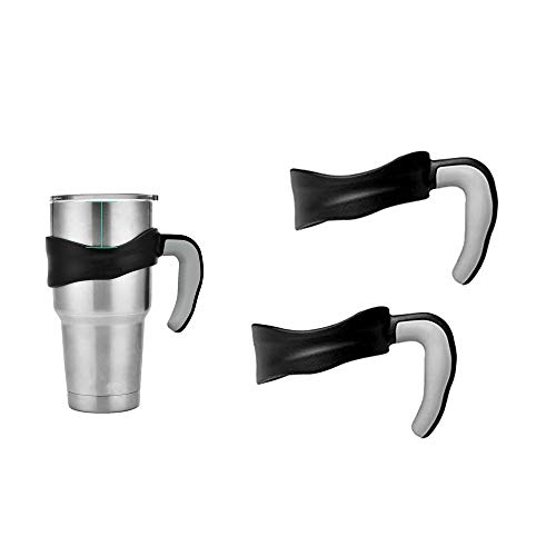 30oz Tumbler Handle,Fits for Yeti Rambler Cooler Cup,Rtic Mug,Sic,Ozark Trail Grip and more Brand,Anti Slip Travel Mug Drinkware Holder,Black(2pack)