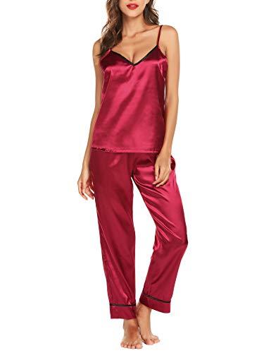 Pyjama Femmes 2 Pièces Ensemble de Pyjama en Satin Femme Vêtement de Nuit Hors épaule Top et Pantalon,Rouge,M