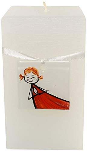 Magic Candle World Candles Natale candela con dipinto a mano Fusing Glass, vetro, bianco, 7.5 x 7.5 x 15 cm