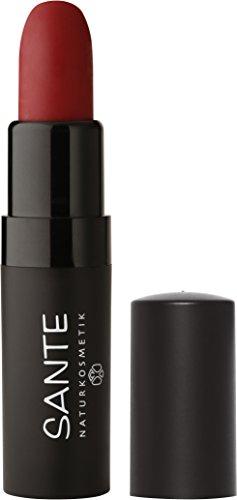 SANTE Naturkosmetik Lipstick Mat Matt Matte Lippenstift, 04 Kiss-Me Red Rot, Matt-Effekt, Intensive Farbpigmentierung, 4,5g