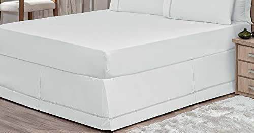 Saia Para Cama Colchão Box Casal Queen Percal 180 Fios Algodão Ponto Palito Branca