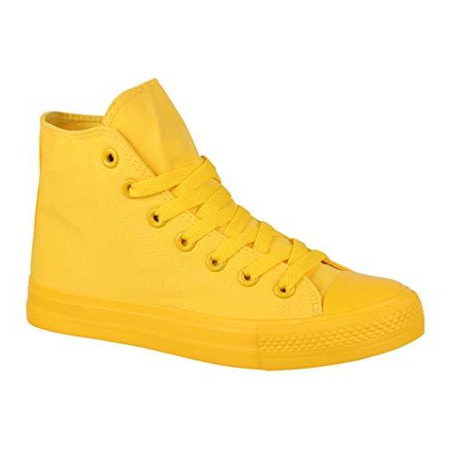 Elara Unisex Sneaker Sportschuhe High Top Turnschuh Chunkyrayan P B339-B341 Yellow-44