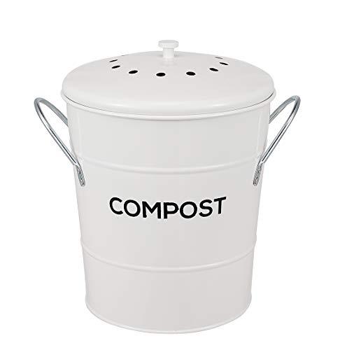 Cubo de compostaje de cocina interior 2 en 1, ideal para restos de alimentos, cubo de plástico extraíble y limpio, asas, beige, 1 galón – Incluye filtro de carbón – blanco
