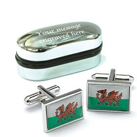 Novelty WALES WELSH FLAG EMBLEM Cufflinks wih Personalised Chrome case Engraved Free by Personalised FREE
