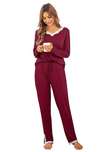 Lovasy Conjuntos de Pijamas Mujer Pijamas para Mujer de Manga Larga con Encaje del Escote Ropa de Dormir Pantalones Largos con Cordón de Bolsillo,Vino Tinto,XL