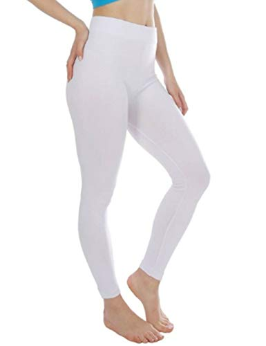 N / C Women Elastic Yoga Tights Running Long Workout Leggings Fitness Gym Pants (White, S)
