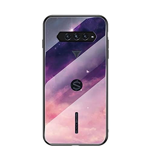 BRAND SET Handyhülle für Xiaomi Black Shark 4 Pro Transparent Lila Sternenhimmel Muster Schutzhülle Gehärtete Glas Rückseite mit TPU-Kanten Stoßfeste Hülle für Xiaomi Black Shark 4 Pro-MHXK