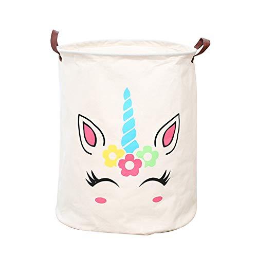 Cesta de almacenamiento grande WFAL, plegable, redonda, cesta de lavandería/cuarto de baño/decoración del hogar, cesta de bebé/caja/ropa de bebé (blanco)