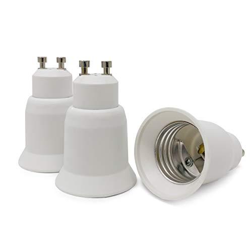 CROWN LED 3x Lampensockel Adapter Konverter weiß - GU10 Fassung auf E27 Sockel Lampenadapter - Lampensockeladapter für LED Halogen Energiespar Lampen