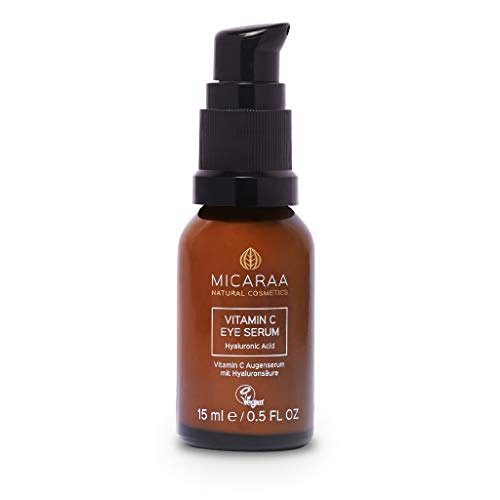 MICARAA Augenserum, Vitamin C Serum Mit Aloe Vera & Koffein, Natürliche Anti Aging Augenpflege, Anti Augenringe Hyaluron Augengel, Naturkosmetik