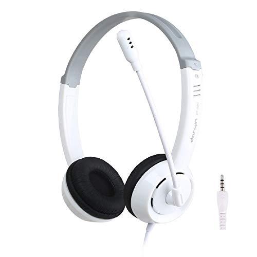 RYRA Auriculares estéreo de 3,5 mm con auriculares y micrófono con cancelación de ruido para PC, auriculares de centro de llamadas