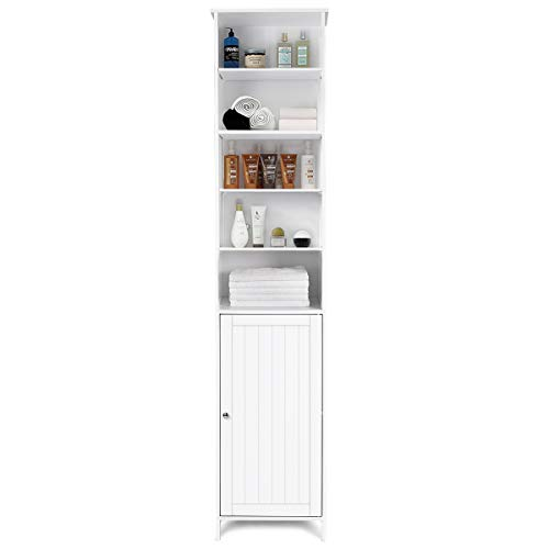 Tangkula 72 Inches Tall Cabinet, Bathroom Free Standing Tower Cabinet with Adjustable Shelves & Cupboard with Door Space Saving Cabinet Organizer Home Storage Furniture, White