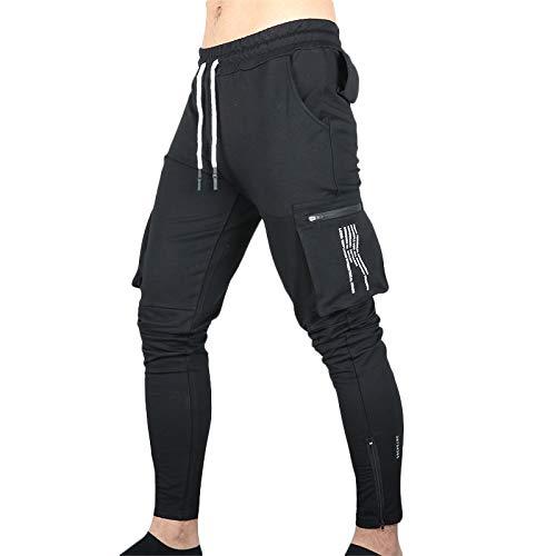 Pantalones de Jogging de Moda para Hombre, Bolsillos Laterales con Cremallera de Color sólido, Ajuste Delgado, Transpirable, Deportivo, Reloj Deportivo, Pantalones con pies de Haz XX-Large