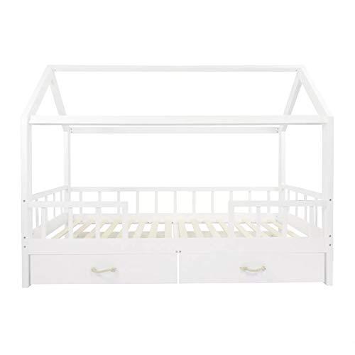 PuckDaddy Hausbett Carlotta – 200x90 cm, Kinder-Bett aus Holz in Weiß mit Bettrahmen im Haus-Design, Abnehmbarer Rausfallschutz, Schubladen und Lattenrost, hochwertiges Kinderzimmer & Jugendbett