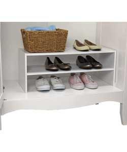 Ordentliche und organisierte interne Kleiderschrank 2 Ebenen Schuhregal (28, Breite 70, D28cm), Weiß