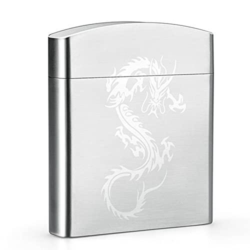 Caja de Cigarrillo de Metal, Acero Inoxidable 304 Cepillado Caja de Cigarrillos, con Interruptor de Clip de Resorte Pitilleras para 18-20 Cigarrillos (Letras gratuitas Disponibles)