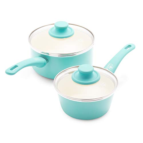GreenLife Soft Grip Healthy Ceramic Nonstick Saucepans with Lids 1QT and 2QT Turquoise