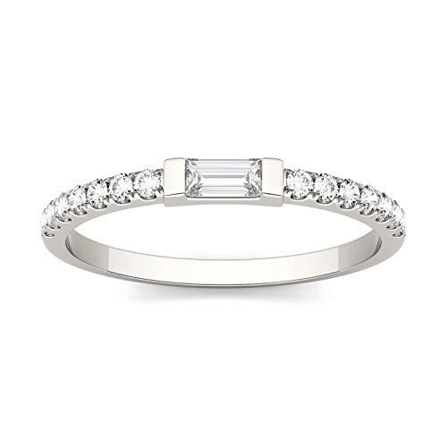 Charles & Colvard Forever One anillo grande - Oro blanco 14K - Moissanita de 4.0 mm de talla baguette, 0.326 ct. DEW, talla 10,5