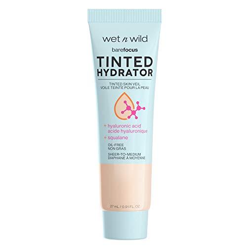 Wet n Wild, Bare Focus Tinted Hydrator Tinted Skin Veil Nourishing Foundation Hyaluronic Acid, Light Medium, 0.91 Fl Oz