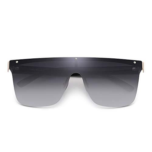 JIM HALO Sin Marco Montura Proteger Gafas de Sol Una Pieza Plano Top Espejo Anteojos Hombre Mujer(Marco Dorado/Lente Gris Gradiente)