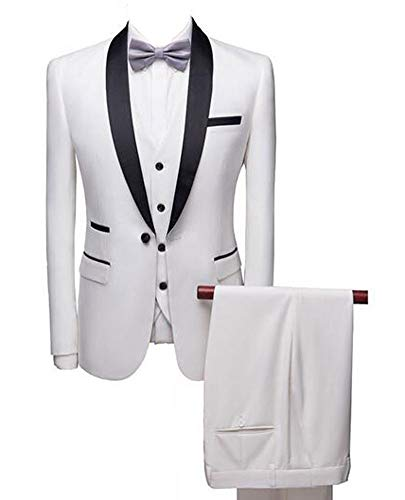 Botong White Shawl Lapel Men Suits 3 Pieces Wedding Suits for Men Groom Tuxedos White 42/36