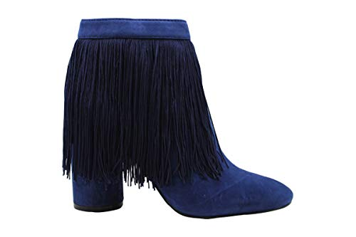 Katy Perry Womens The Fringe Suede Suede Closed Toe Ankle, Navy, Size 9.5