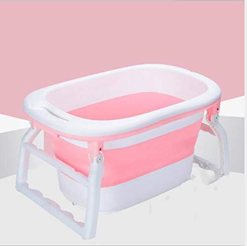 LIUWENMEI Faltbare Badewanne, Neugeborenenbadewanne, Baby-Duscheimer, große Kapazität tragbar für 6 Monate - 13 Jahre alte Kinder,Pink,XXXL