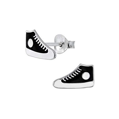 Laimons Kids Orecchini a pressione per bambini gioielli per bambini Scarpe sneaker con stella Nero, Bianco Argento Sterling 925